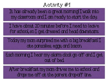 Sentence Sequencing Strips - 10 Activities Included!