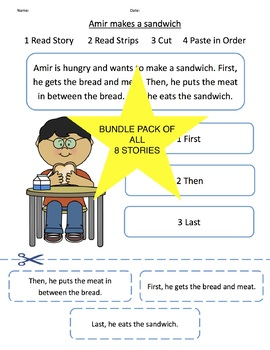 Sentence Sequencing Strips with Short Story (8 Stories + 3 NEW Stories)