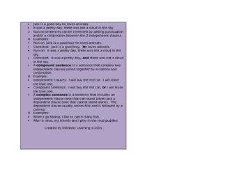 Sentence Skills Rules Review Reference Card (editable)
