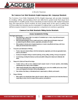 Sentence Skills for Achieving the CCSS ELA Language Standards