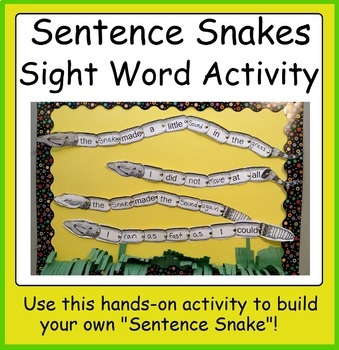 Sentence Snakes writing activity using common sight words