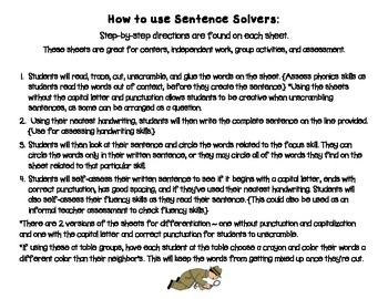 Short Vowels~ Interactive Sentence Building Activity~ Sentence Solvers