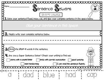 Writing Sentences ~ Short Vowels~ Interactive Sentence Building Activity