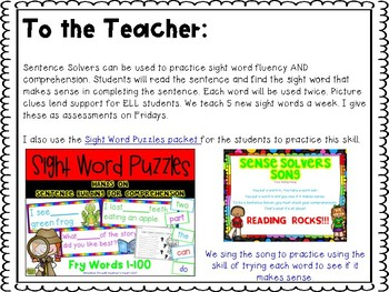 Sentence Solvers: Sight Word Comprehension Assessments Fry Words 1-100