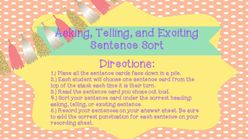 Sentence Sort- Asking, Telling, Exciting Sentences