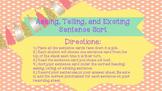 Sentence Sort- Asking, Telling, Exciting Sentences