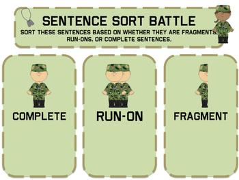 Sentence Sort (Fragments, Run-Ons, Completes) Battle Game