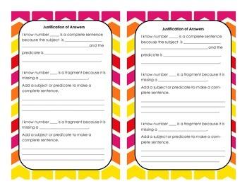 Sentence Sort/Task Cards: Complete Sentences VS Fragments