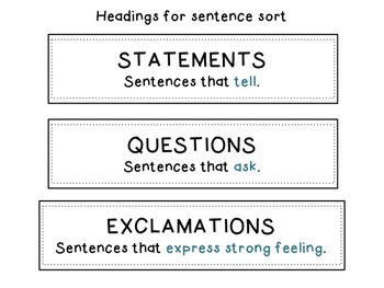 Sentence Sorting Center - Statements, Questions, and Exclamations