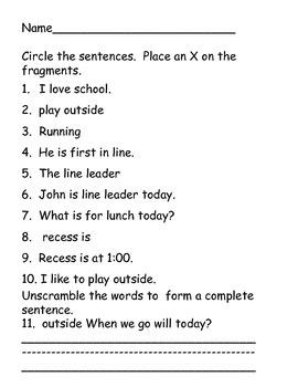 Sentence Sorting Center--sentences vs.fragments