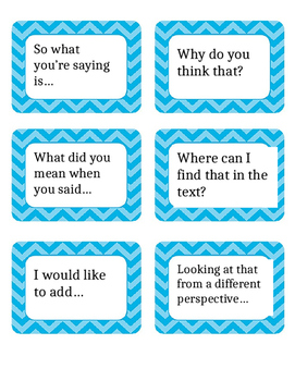 Sentence Starter Cards, Accountable Talk
