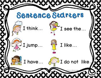 Sentence Starter Poster