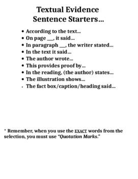 Sentence Starter for Textual Evidence