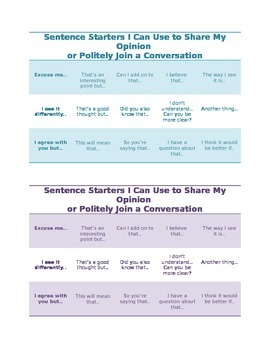 Sentence Starters Chart