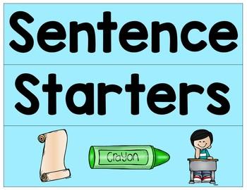 Sentence Starters For Beginning Writers