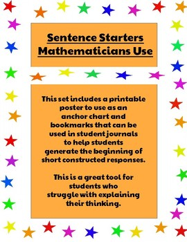 Sentence Starters Mathematicians Use