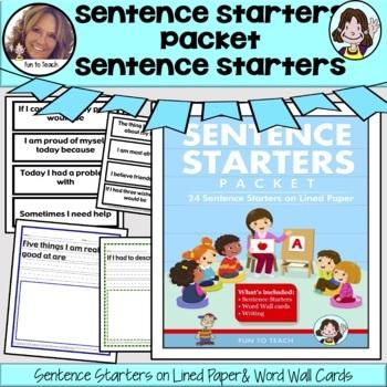 Sentence Starters Packet by Fun To Teach | Teachers Pay Teachers