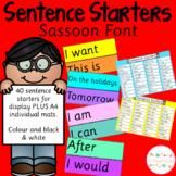 Sentence Starters - Sassoon Font