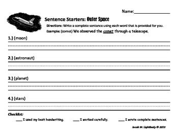 Sentence Starters Set I (Writing Center/Station Activity)