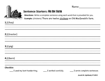 Sentence Starters Set I (Writing Center/Station Activity)
