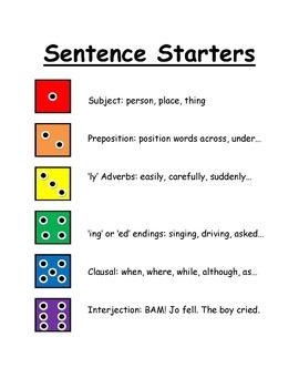 Sentence Starters Workbook