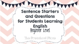 Sentence Starters and Questions for English Beginners (ESL