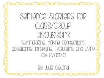 Sentence Starters for Collaborative Groups