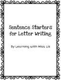 Sentence Starters for Letter Writing