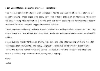 Sentence Starters for Narrative - Dyslexic Friendly - Full version