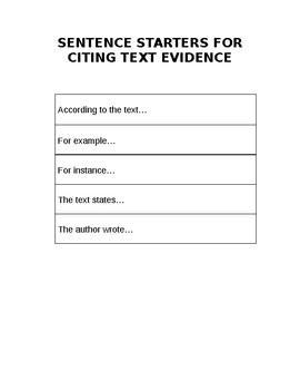 Sentence Starters for Text Evidence
