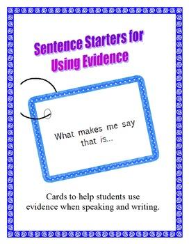 Sentence Starters for Using Evidence