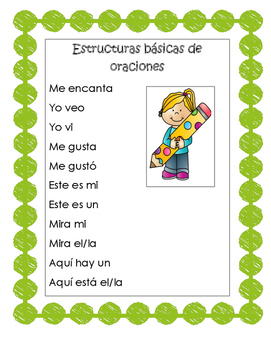 Sentence Starters in Spanish