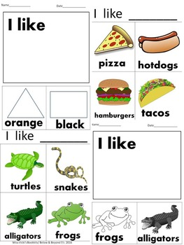 Sentence Starters with labeled pictures- Writing Interactive Notebook