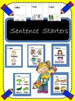 Sentence Starters with labeled pictures- Writing Interacti