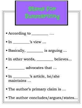 Sentence Stem Posters for Writing