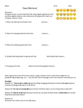 Sentence Stem Printouts and Introduction Activity