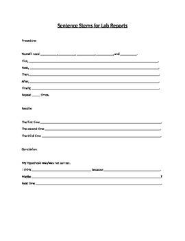 Sentence Stems-Lab Report