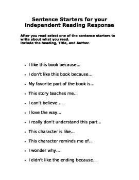 Sentence Stems Reading Response