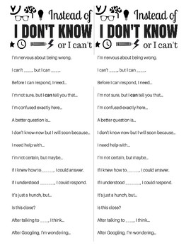 Sentence Stems To Replace 'I Don't Know' or 'I Can't' (With Bonus Cards!)