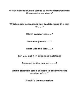 Sentence Stems for 5th Grade Math