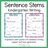 Sentence Stems for Kindergarten Writing Standards and Topics