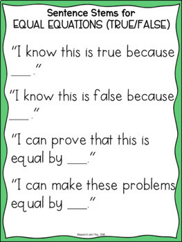 Sentence Stems for Number Talks and Math Warm Up Routines