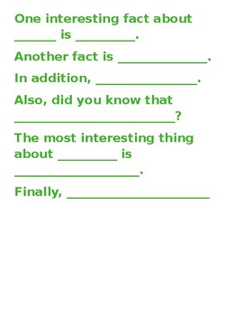 Sentence Stems for Simple Informational Paragraph
