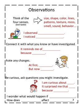 Sentence Stems to Use For Writing In Science Anchor Charts and Half Pages