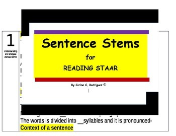 Sentence Stems to help with the Reading STAAR