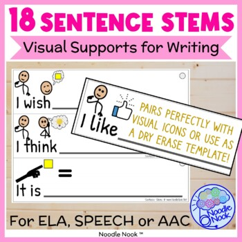Sentence Stems with Visual Supports for Writing from NoodleNook.Net
