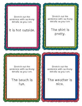 Sentence Stretchers Task Cards