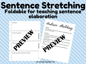 Sentence Stretching Foldable - adding details - expanding