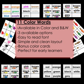 Color Word Cards- Sentence Strip Format: BONUS Color Flashcards