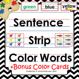 Color Word Cards- Sentence Strip Format: BONUS Color Flashcards